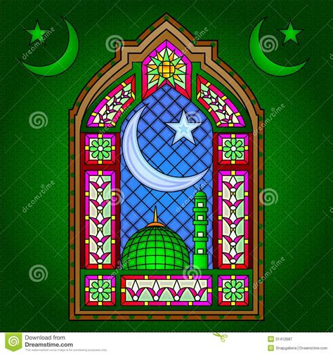 Islamic Stained Glass Painting Stock Vector - Image: 31412687