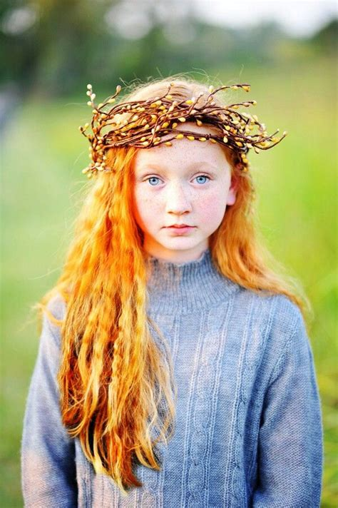 Red curly hair, blue eyes and freckles   Crown