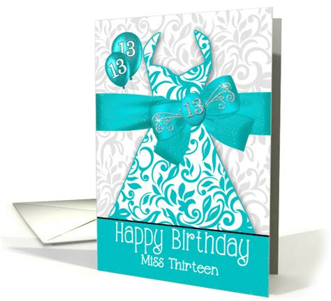 13th Birthday for Her Trendy Bling Turquoise Dress card