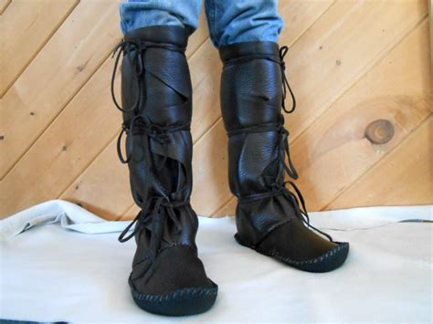 Handmade Moccasin Boots Tall Moccasins Wrap by