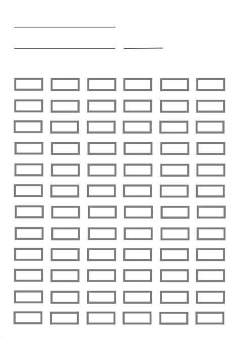 blank pencil chart for up to 72 pencils
