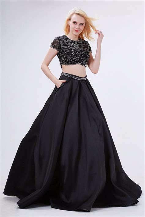 Ball Gown High Neck Two Piece Black Satin Beaded Prom