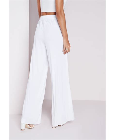 Missguided Jersey Wide Leg Trousers White in White | Lyst