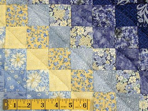 Blue and Yellow Trip Around the World Quilt Photo 4