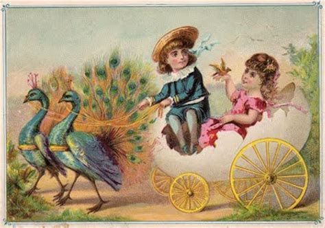 Free Victorian Graphic - Children with Peacocks - The