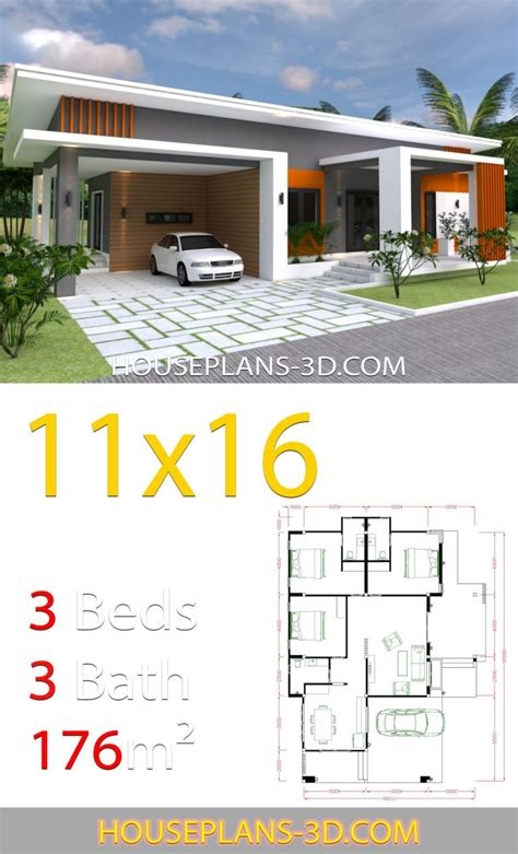 Home Design 11x16 with 3 bedrooms slop roof - House Plans