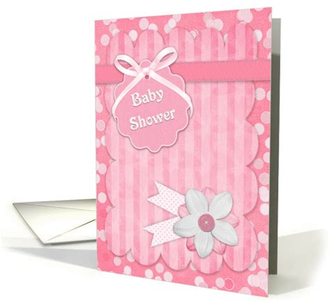Pink Polka Dots, Tag, Flowers Girl Baby Shower Invitation card