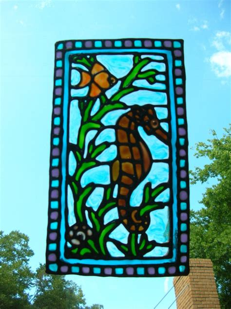 Seahorse fish nautical stained glass window cling 8
