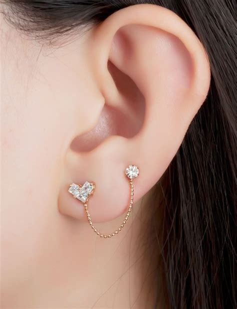 really small studs in second ear piercing - Google Search