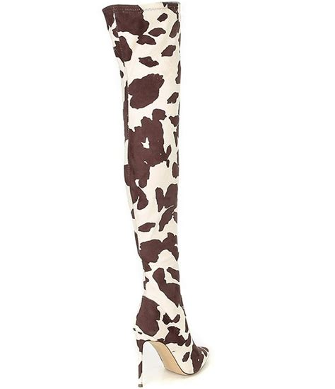 Steve Madden Viktory Cow Print Over-the-Knee Boots – Shoes
