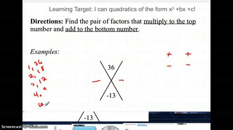 Factoring with X-Puzzle - YouTube