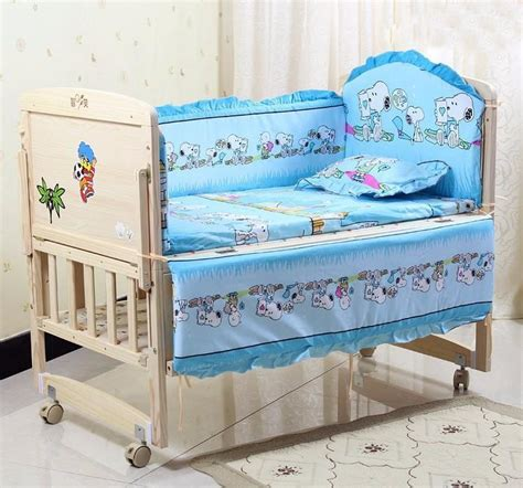 5Pcs Cotton Baby Cot Bedding Set For Boys Girls Baby Bed