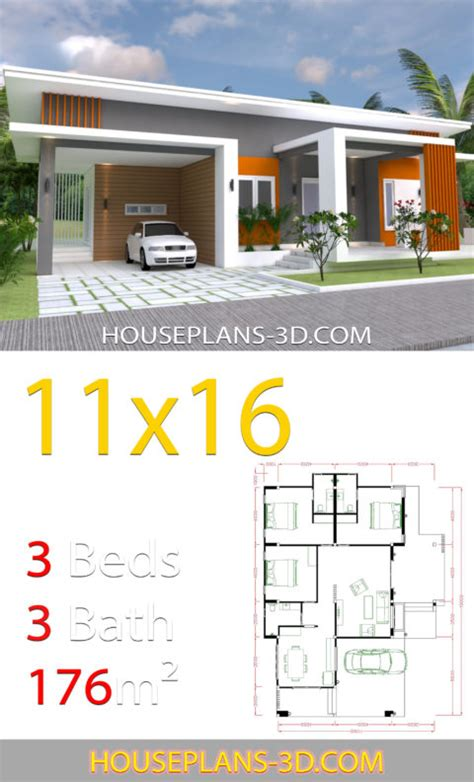 Home Design 11x16 with 3 bedrooms slop roof - House Plans 3D